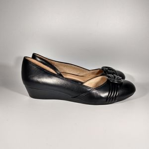Abella black half D' Orsay wedge shoes size 7M